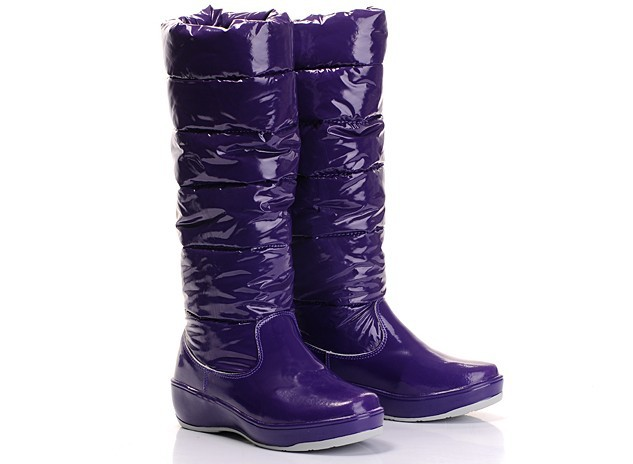 Cheap Moncler Patent Leather Purple Warm Boots MC1302 Sale