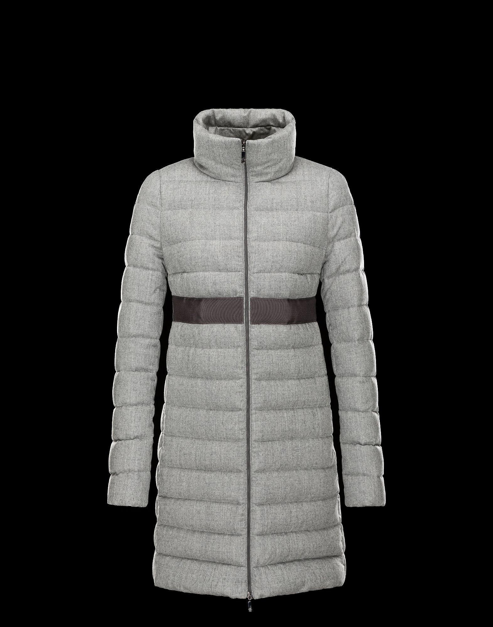 Cheap Moncler SOLOGNE Women Coats Long Grey With High Collar Sale NA1112