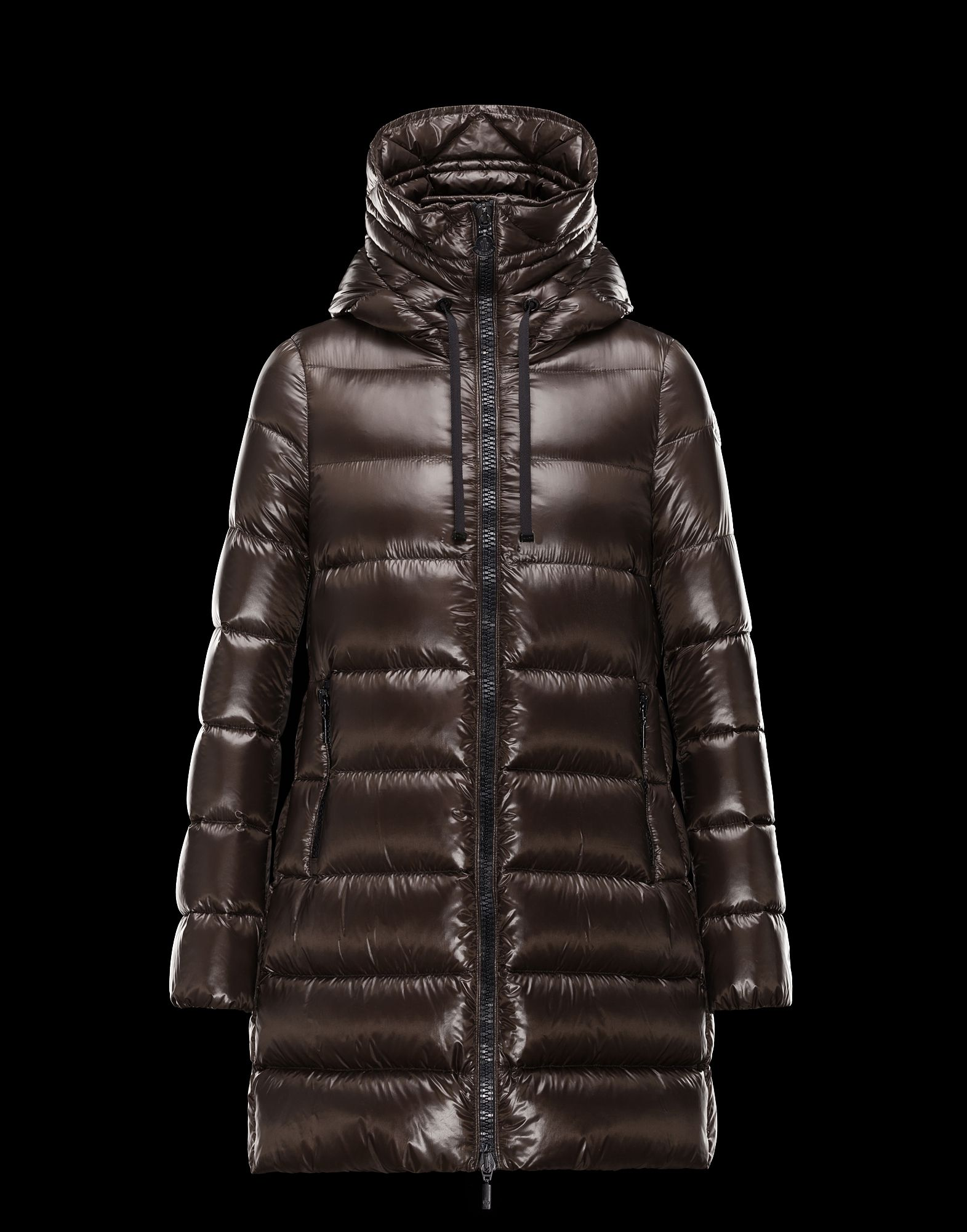 Cheap Moncler SUYEN Women Coats Brown Hooded Sale NA1105