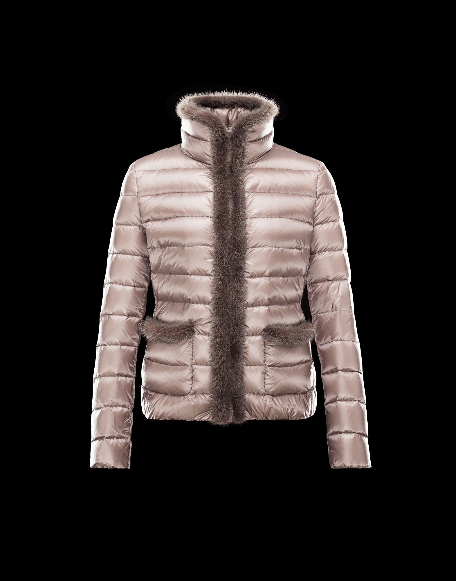 Cheap Moncler TEMPLE Women Coats Short Dove Grey With Fur Collar Sale NA1097