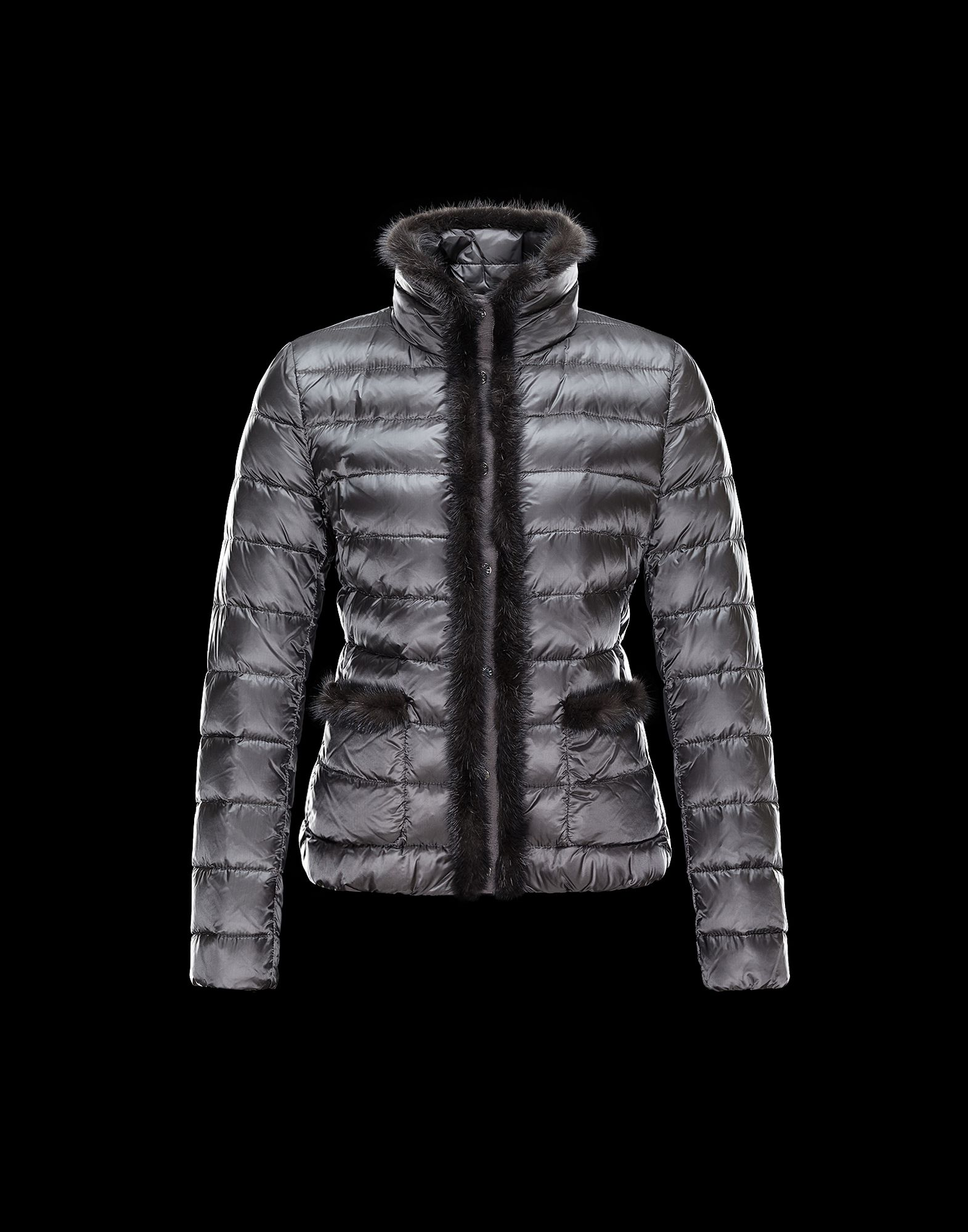 Cheap Moncler TEMPLE Women Coats Short Steel Grey With Fur Collar Sale NA1096