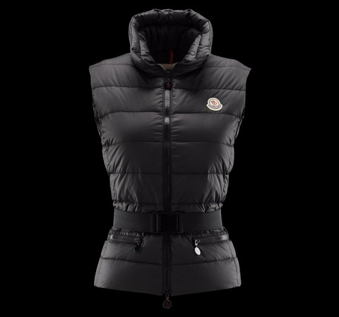 Cheap Moncler Vest Women Black With Mock Collar And Waistband MC1248 Sale