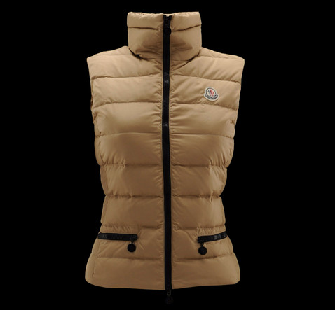 Cheap Moncler Vest Women Khaki With High Collar And Waistband MC1252 Sale