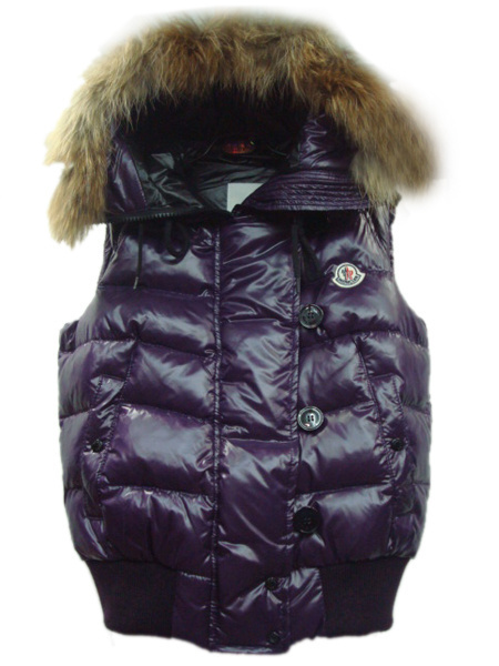 Cheap Moncler Vest Women Purple With Fur Collar MC1251 Sale