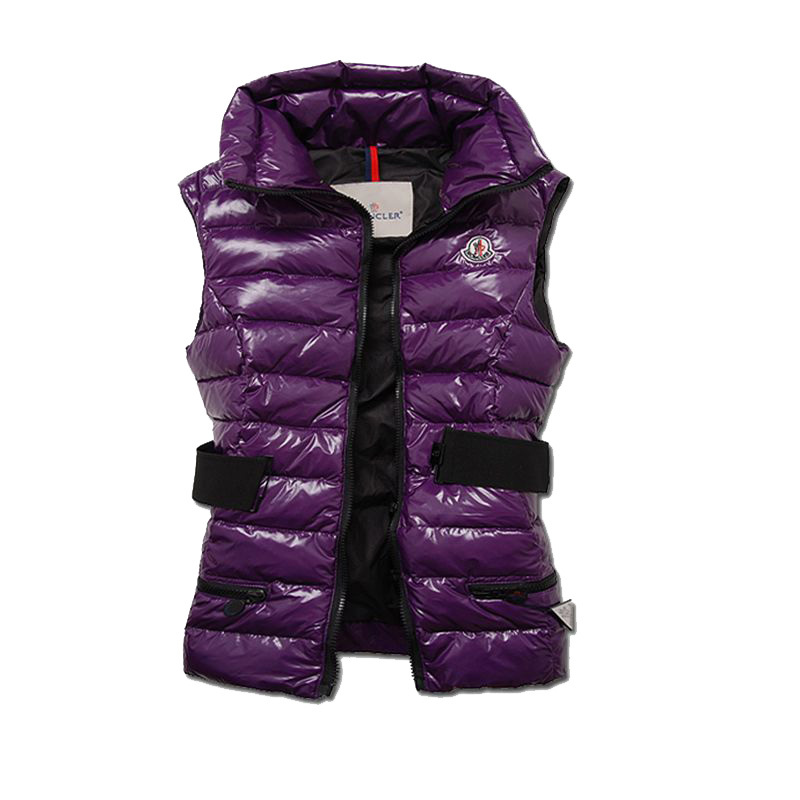 Cheap Moncler Vest Women Purple With Mock Collar And Waistband MC1225 Sale