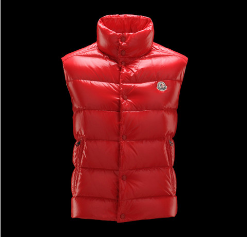 Cheap Moncler Vest Women Red With Mock Collar MC1250 Sale