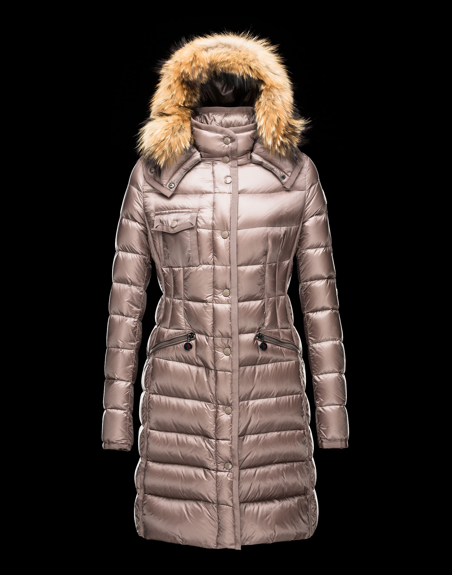 Cheap Moncler Women Coats Long Dove Grey With Fur Collar Removable Cap Sale NA1095