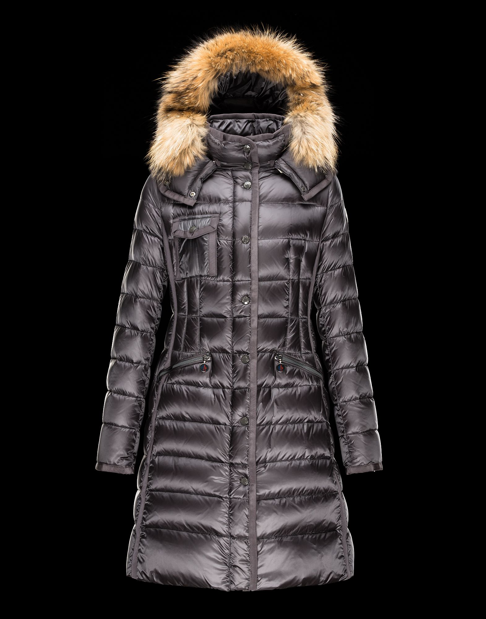 Cheap Moncler Women Coats Long Steel Grey With Fur Collar Removable Cap Sale NA1094