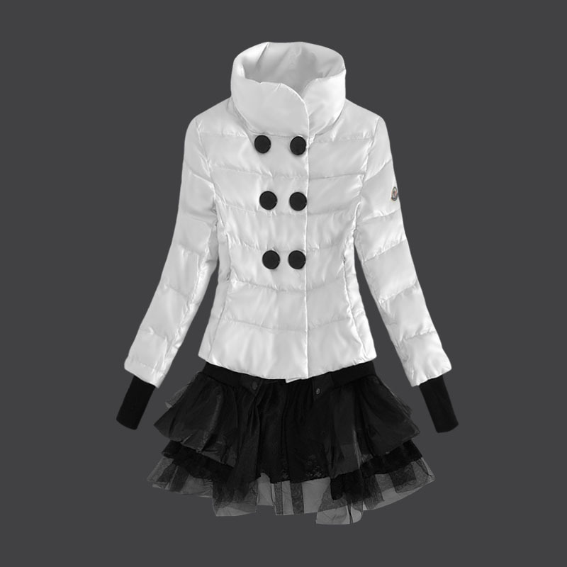 Cheap Moncler Women Down Coats Stand Collar White MC1473 Sale