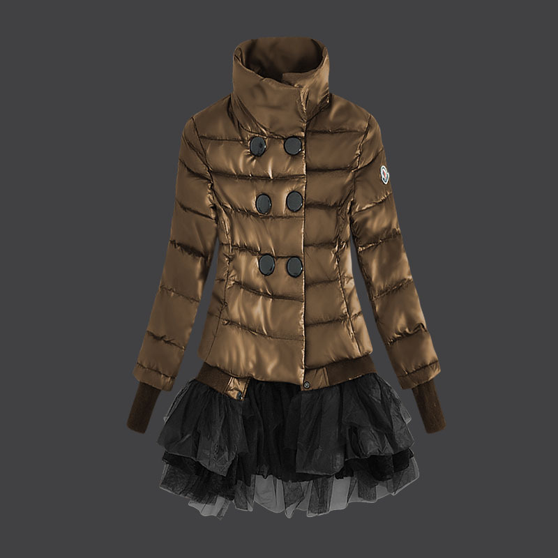 Cheap Moncler Women Down Jackets Stand Collar Copper Yellow MC1475 Sale