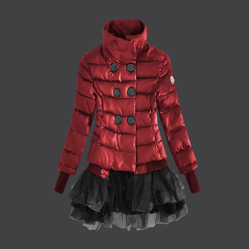 Cheap Moncler Women Down Jackets Stand Collar Red MC1474 Sale