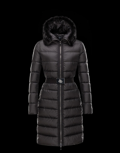 Cheap Moncler FABREFUR Women Coats Long Black With Fur Collar And Waistband Sale NA1107