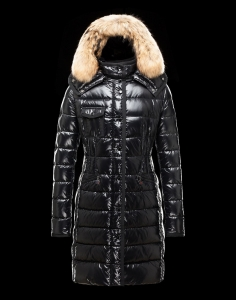 New Cheap Moncler Long Women Coats Black With Fur Cap Sale NA1050