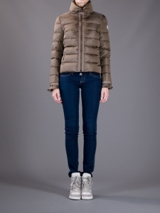 Cheap Moncler Down Coats For Women Zipper Cuffs Coffee MC1592 Sale