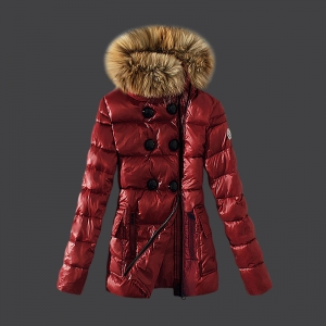 Cheap Moncler Long Coats For Women Fur Collar Red MC1556 Sale