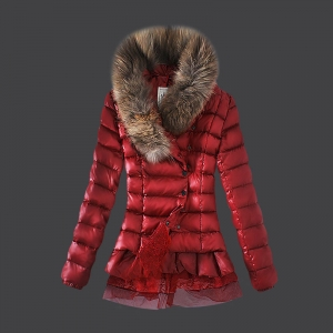 Cheap Moncler Long Coats For Women Skirt Hem Red MC1558 Sale