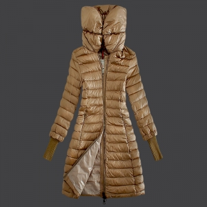 Cheap Moncler Long Coats For Women Queen Collar Khaki MC1487 Sale