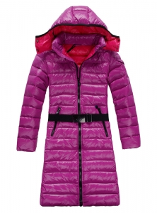 Cheap Moncler Long Coats For Women Pink With Mock Collar And Waistband MC1084 Sale