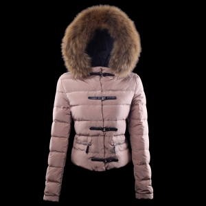 Cheap Moncler Down Jackets For Women With Fur Cap Pink MC1365 Sale