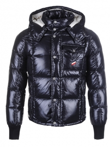 Cheap Moncler Jackets For Men Black With Mock Collar MC1218 Sale