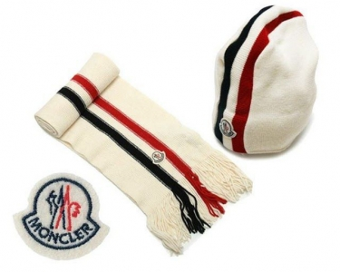 Cheap Moncler Wool White Warm Hat And Scarf MC1299 Sale