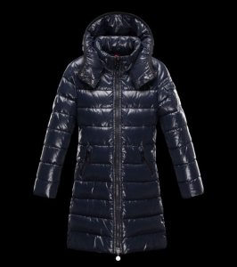 New Cheap Moncler Long Kids Coats Deep Blue Sale NA1077