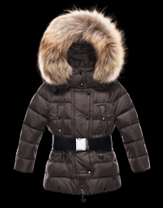 New Cheap Moncler Kids Coats Brown With Belt Sale NA1056