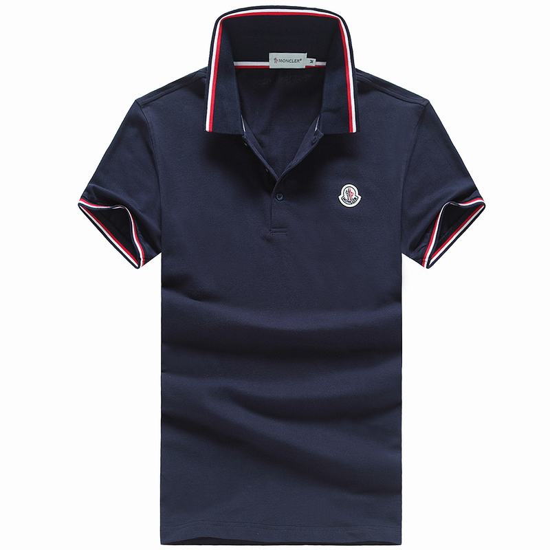 2018 Moncler New Italy Silk Cotton Limited Polo Classic LOGO Dark Blue