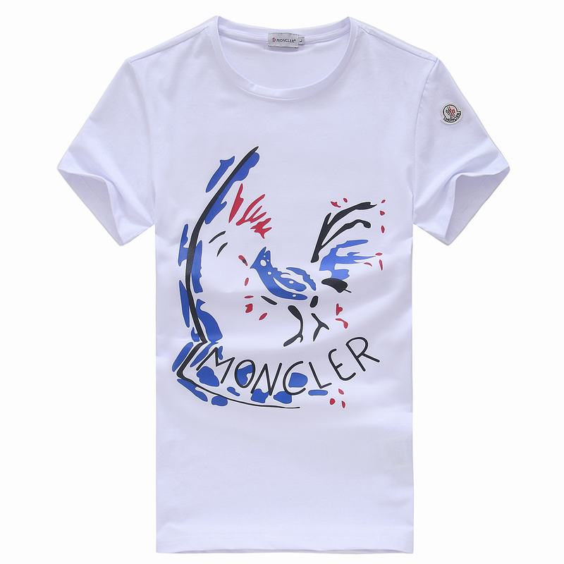 2018 Moncler New Italy Silk Cotton Limited T Shirt Abstract Rooster White