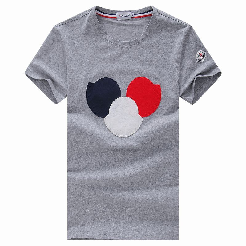2018 Moncler New Italy Silk Cotton Limited T Shirt Big Tricolor LOGO Grey