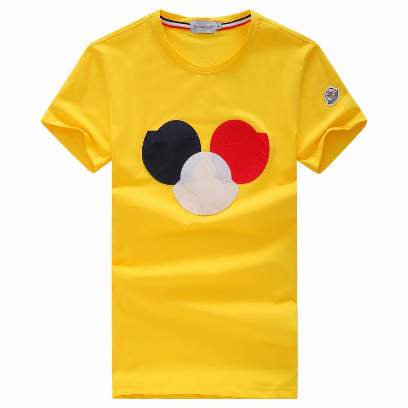 2018 Moncler New Italy Silk Cotton Limited T Shirt Big Tricolor LOGO Yellow