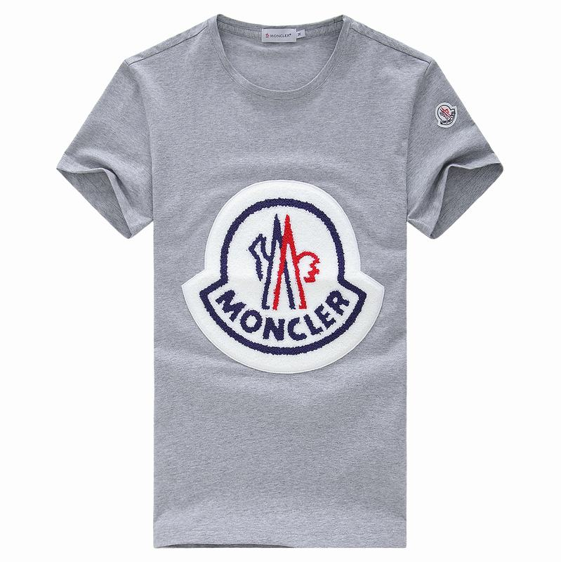 2018 Moncler New Italy Silk Cotton Limited T Shirt Big White LOGO Grey