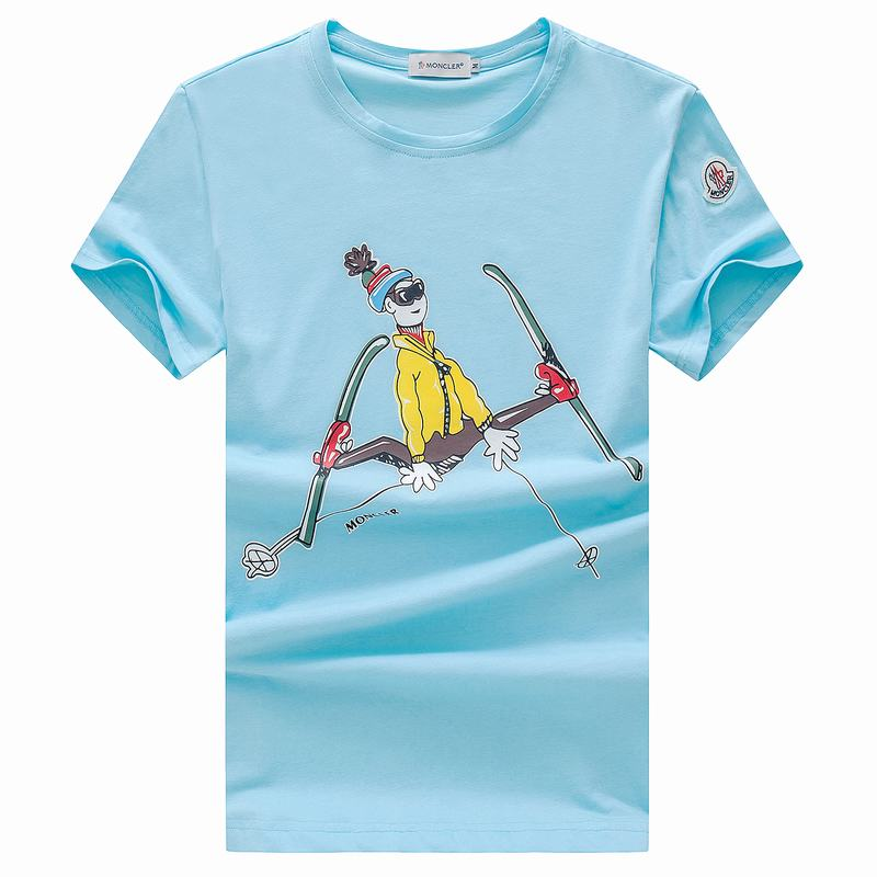 2018 Moncler New Italy Silk Cotton Limited T Shirt Cartoon Ski Ice Blue