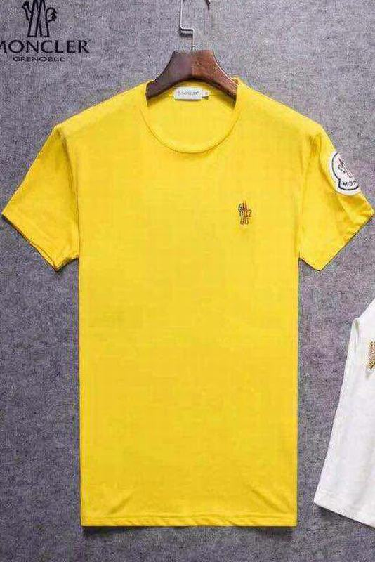 2018 Moncler New Italy Silk Cotton Limited T Shirt Cock LOGO Yellow