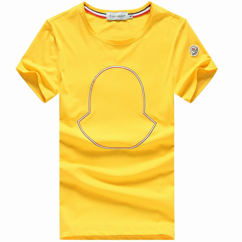 2018 Moncler New Italy Silk Cotton Limited T Shirt Geometry LOGO Yellow