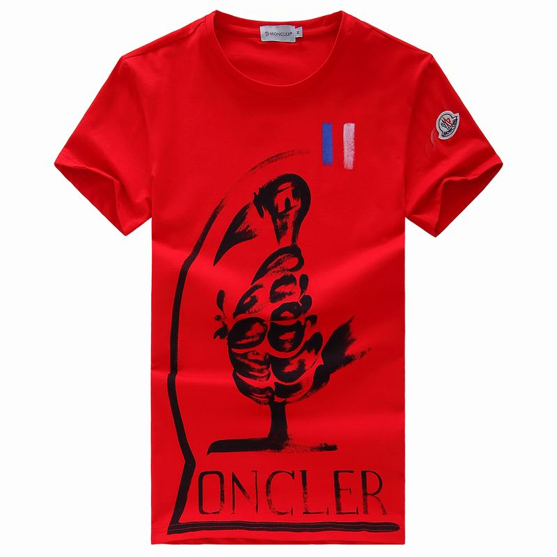 2018 Moncler New Italy Silk Cotton Limited T Shirt Graffiti Cock Red