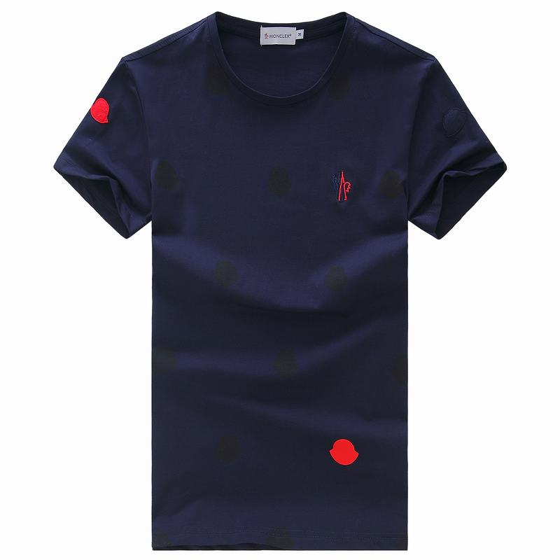 2018 Moncler New Italy Silk Cotton Limited T Shirt Spot LOGO Dark Blue