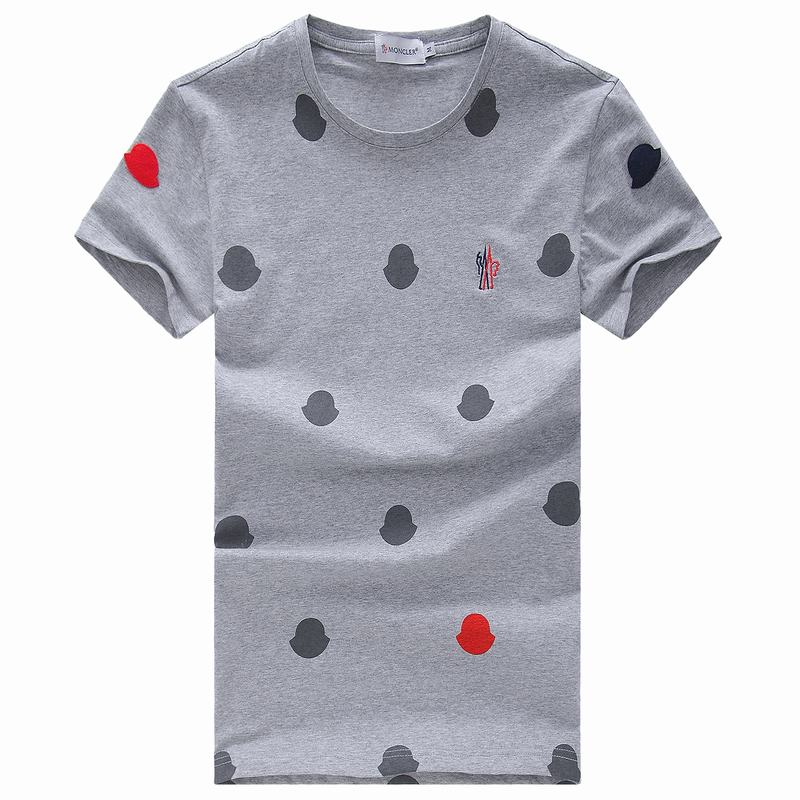 2018 Moncler New Italy Silk Cotton Limited T Shirt Spot LOGO Grey