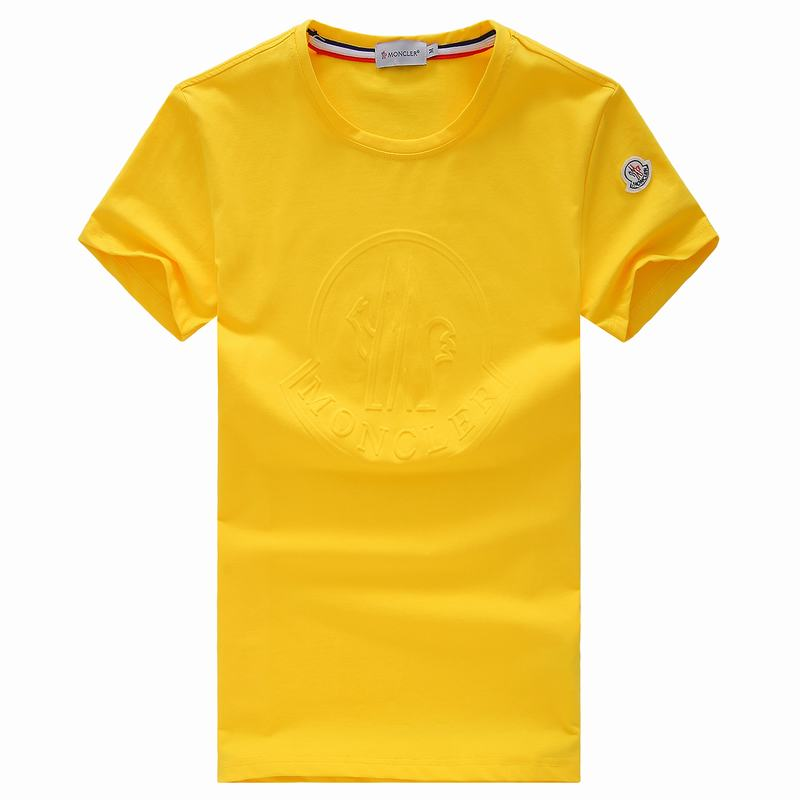 2018 Moncler New Italy Silk Cotton Limited T Shirt Stamping LOGO Yellow